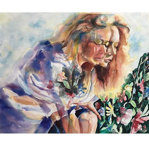 Erin in the Garden (Double Vision Painting)