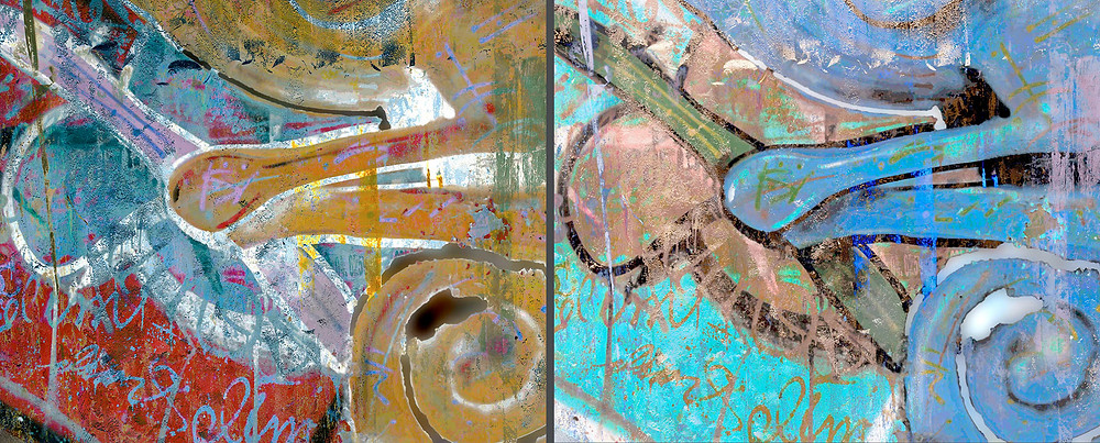 Identical images except for the colors which affect the sense of depth and density of the artwork.  Which feels more three dimensional and which one feels less dense of thick or heavy?