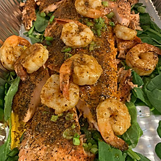 Cajun Prawn and Salmon Salad