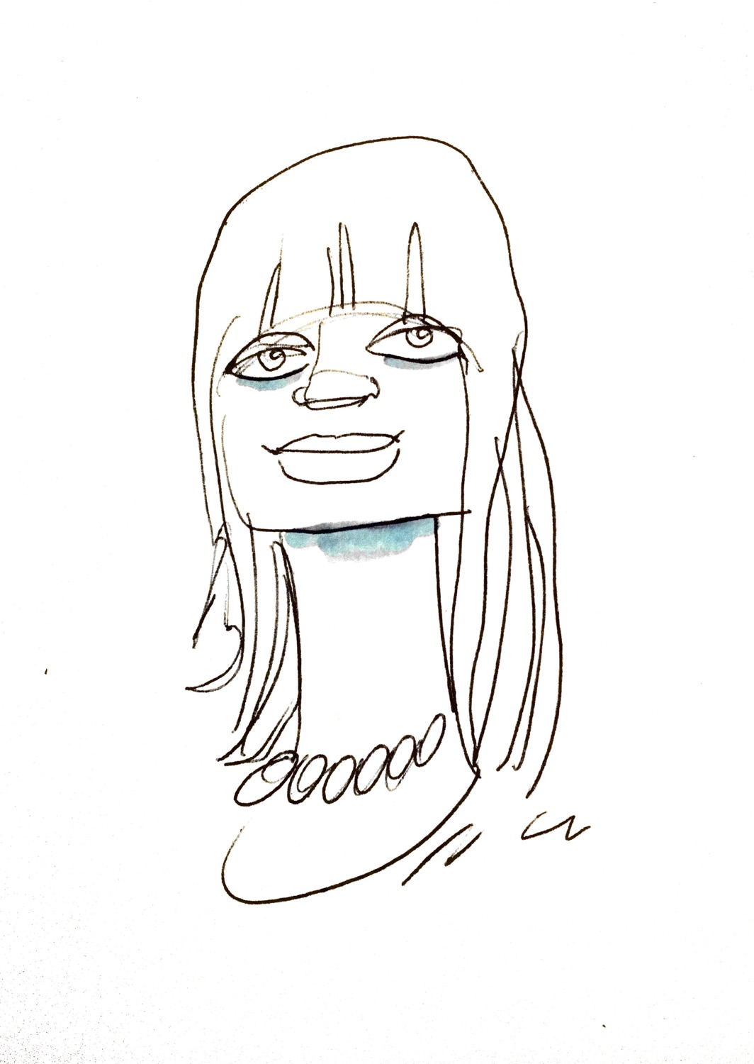Portrait of a young 60's girl_Bic pen