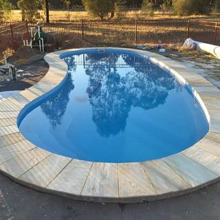 Kidney shaped pool.