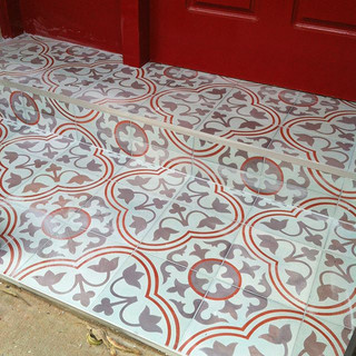 Concrete tiled steps. Follow the pattern!