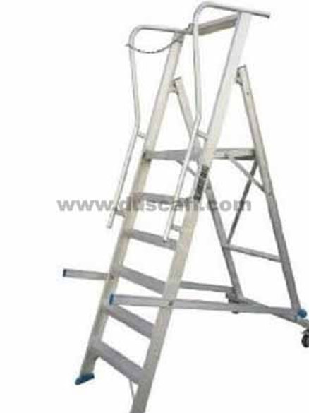 Aluminium Rolling Warehouse Ladder, 3 meters, 7 + 1 Steps
