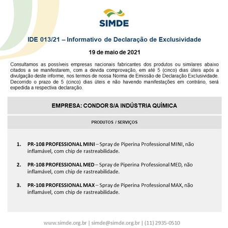 IDE nº 013/2021 - Condor S/A