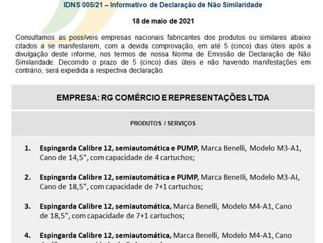 IDNS nº 005/2021 - RG Comércio e Representações