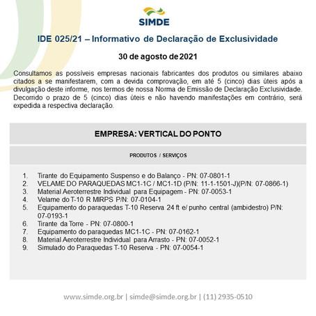 IDE nº 025/2021 - Vertical do Ponto