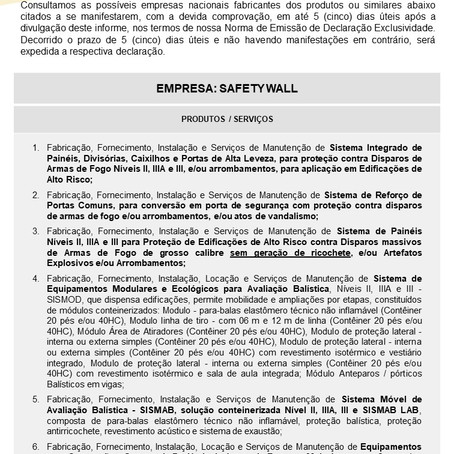 IDE nº 022/2021 - Safety Wall