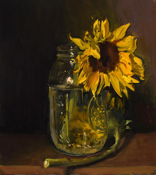 Sunflower in a Mason Jar