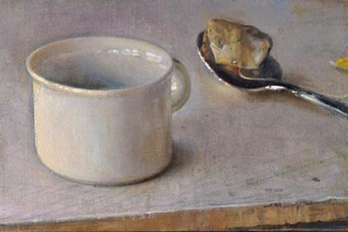 White Cup with Spoon and Tea Bag