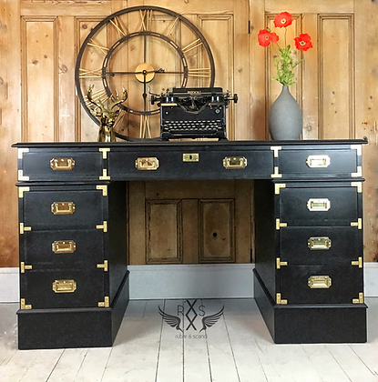 """Campaign Style Desk - Painted in Farrow andBall """"Pitch Black"""""""