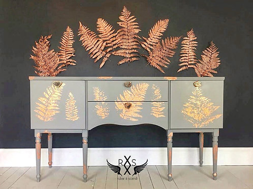 Grey Sideboard with Rose Gold Leaf Print