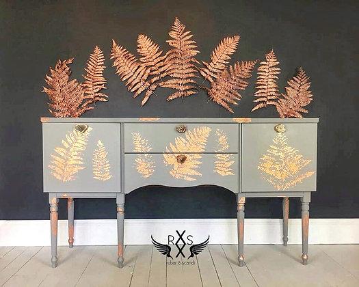 Grey Sideboard with Rose Gold Leaf Print