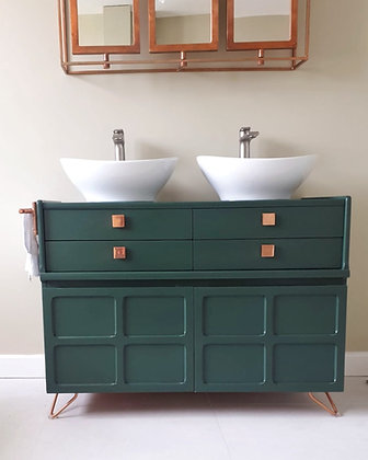 Bespoke Double Sink Bathroom Vanity (Green)