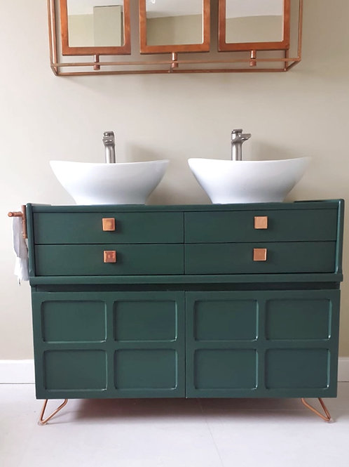 Bespoke Double Sink Bathroom Vanity (Green)