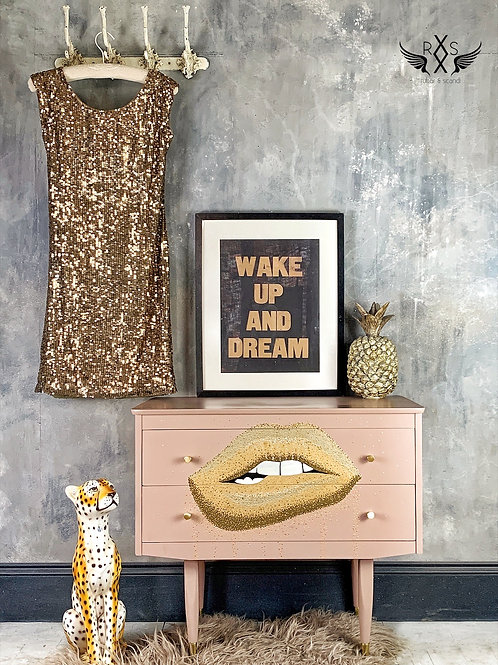"""Gold Lips"" Bedside Drawers"