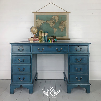 Twin Pedestal Desk with Leather Insert