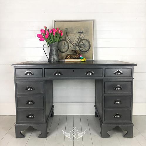 Dark Grey Pedestal Desk with Cup Pulls