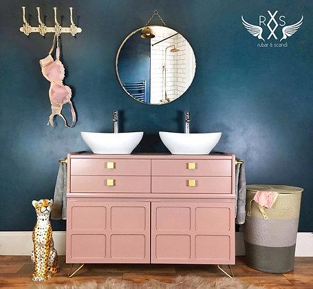 Bespoke Double Sink Bathroom Vanity (Pink)