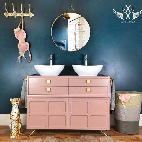 Bespoke Double Sink Bathroom Vanity (Pink)