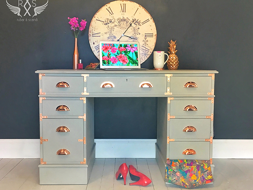 Campaign Style Desk - Grey and Rose Gold