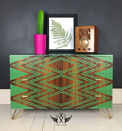 Mid Century Geometric Sideboard / Chest of Drawers