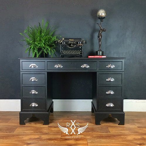 "Twin Pedestal Desk with Chrome Cup Handles - Fusion ""Coal Black"""