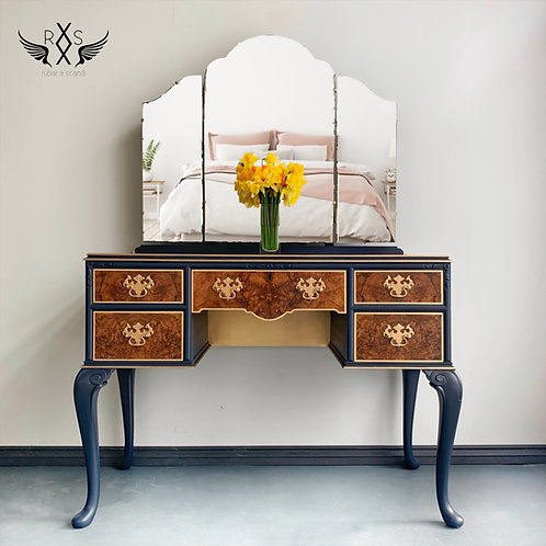 Vintage Walnut and Navy Dressing Table