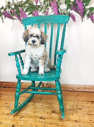 Teal and Pink Rocking Chair