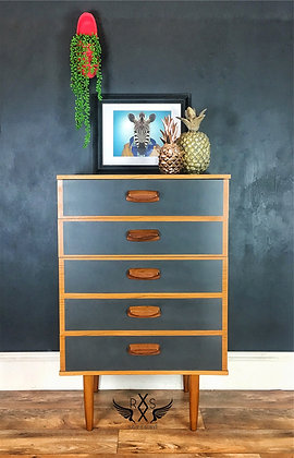 """Mid Century Tallboy Chest of Drawers - Painted in Fusion """"Ash"""""""