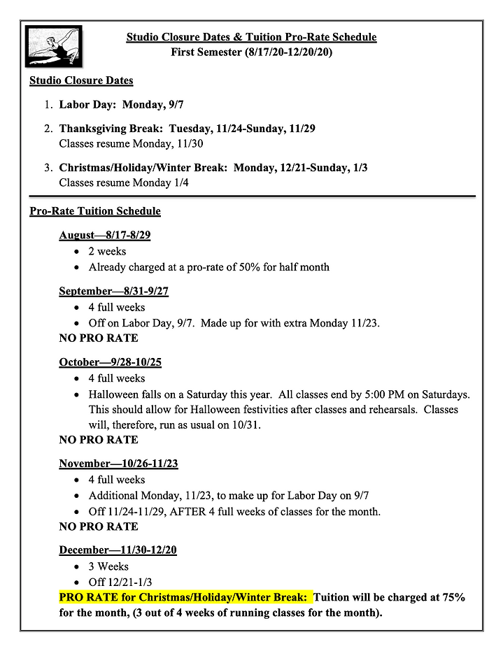 Closure and Pro Rate Sched 1st Sem 2020.