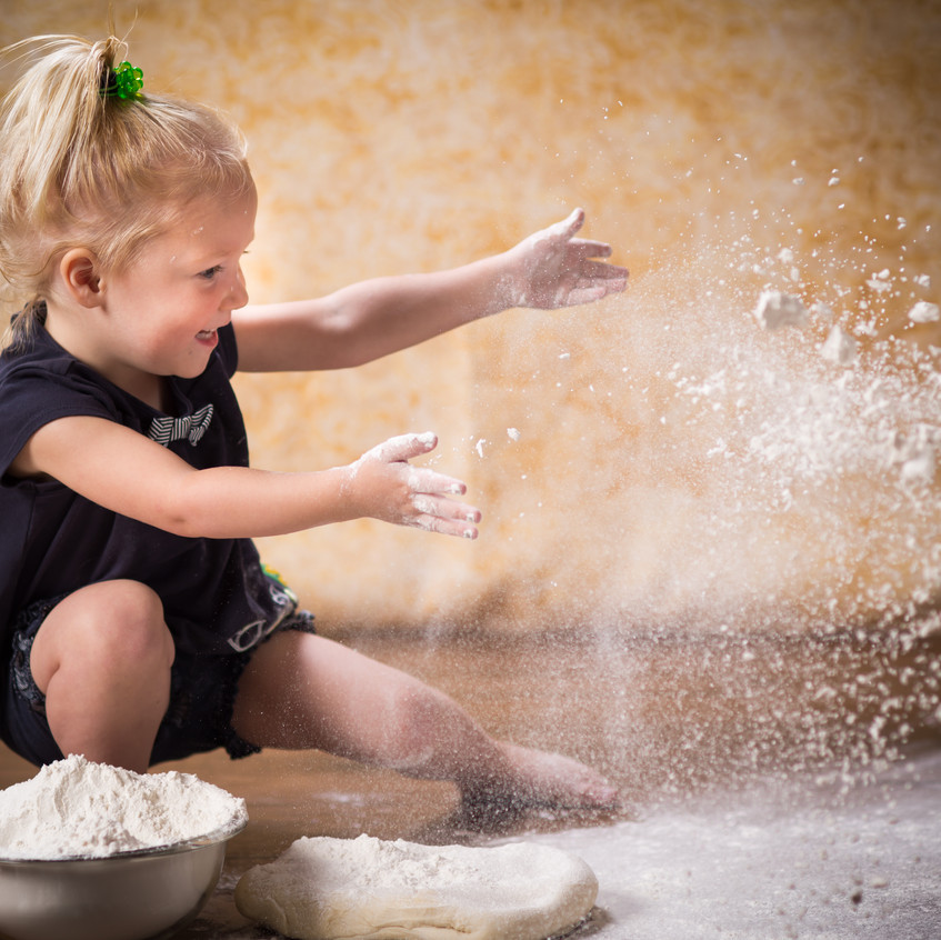 Milestone photography with flour and dough in Lenexa