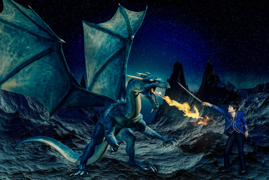 Prince Fighting a Dragon on the Moon