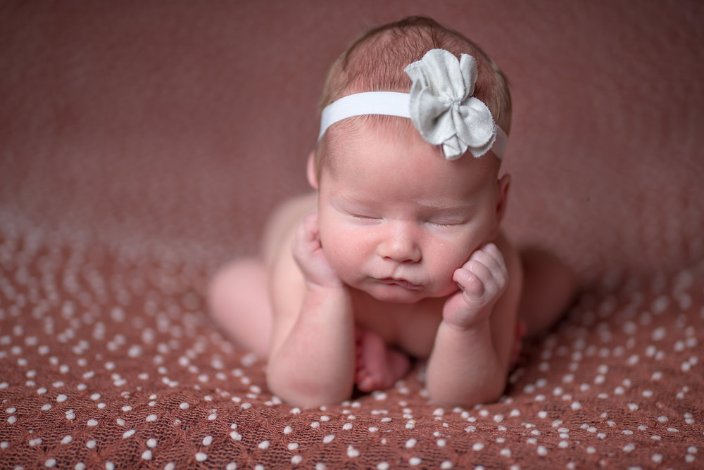 Newborn baby on a brown bumped posing blanket in Overland Park photography studio