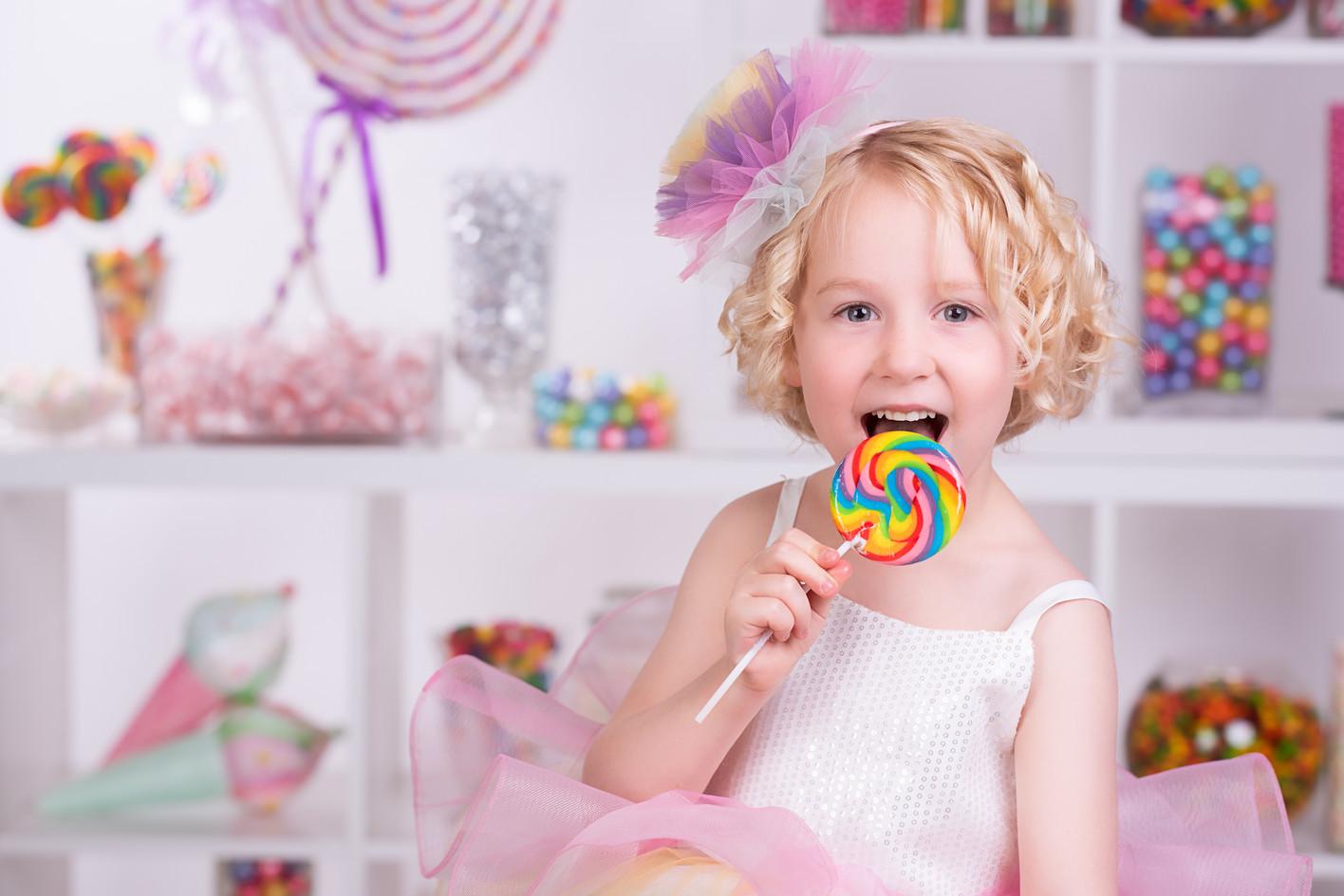 Rainbow lollipop in a candy land