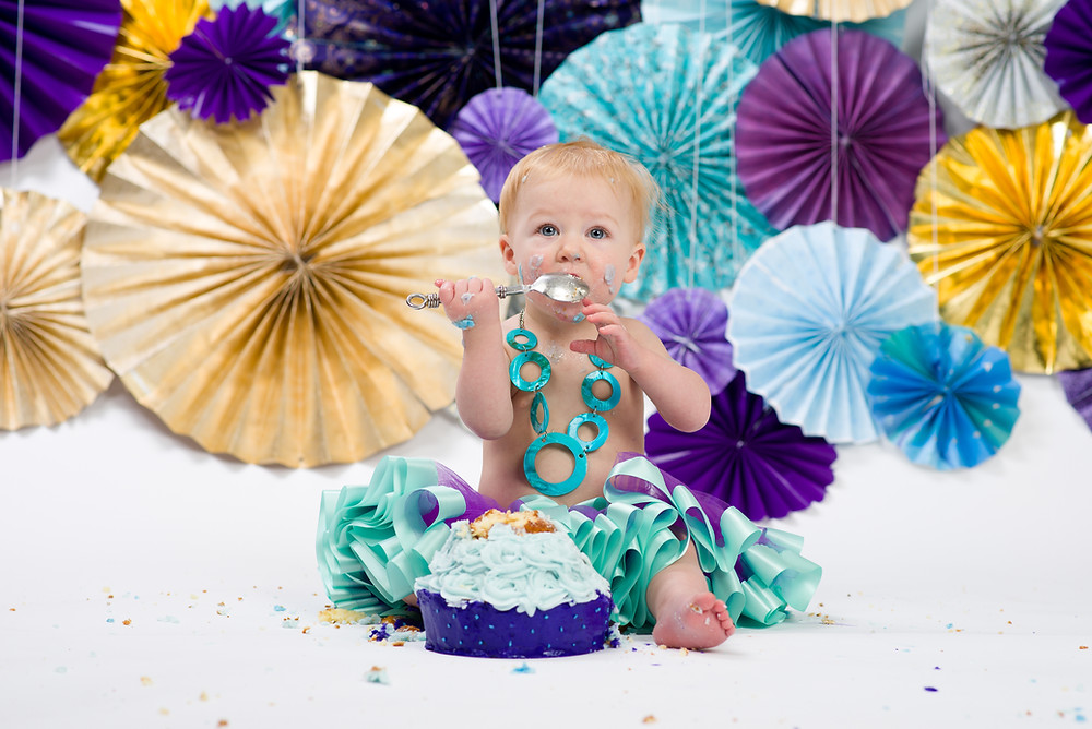 Children's Photographer in Overland Park purple tutu cake smash
