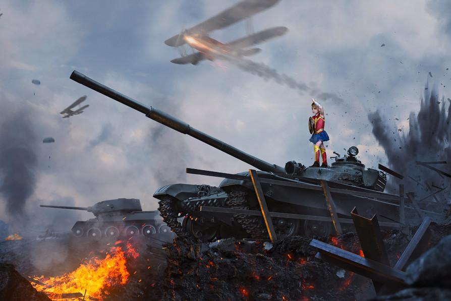 Wonder Woman on a Tank