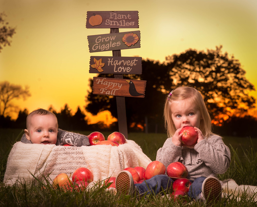 Siblings picture with apples and a sunset
