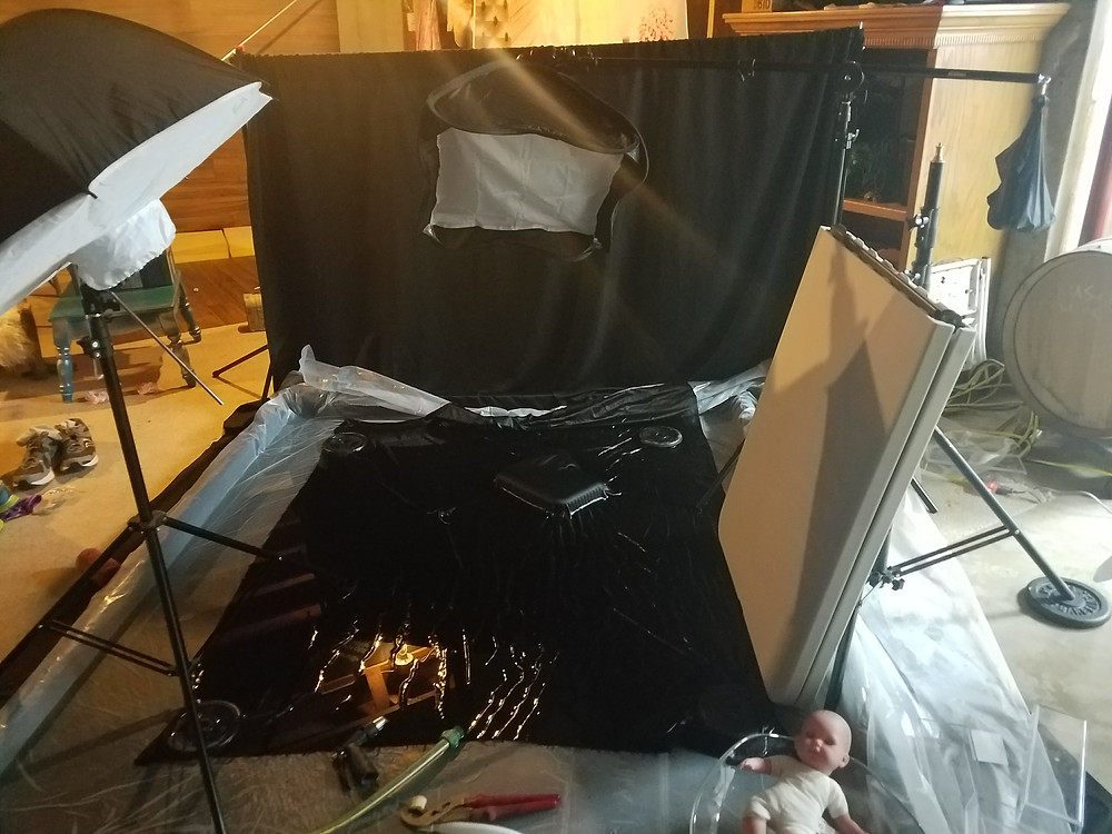Picture of studio setup for kid splash photography