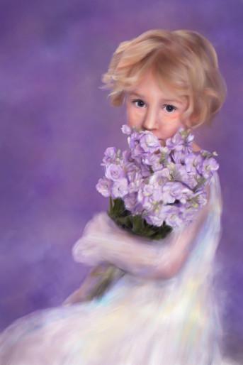 Traditional children's painted portrait