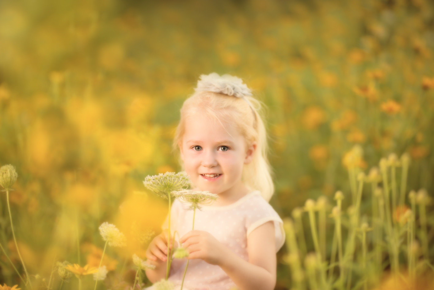 Children's wild flower field photography