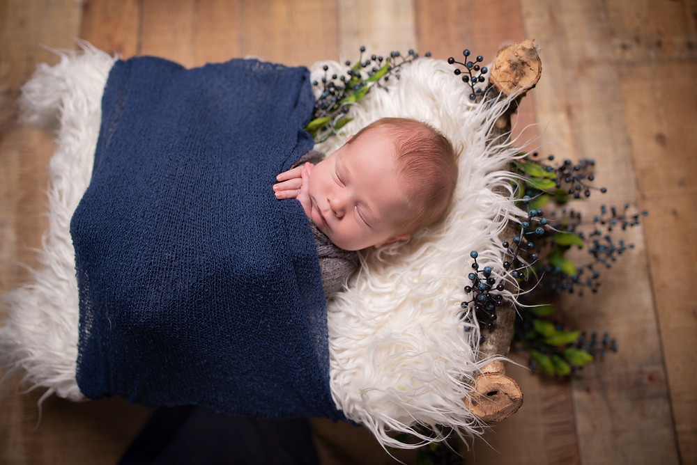 Amazing Newborn Picture with a tiny baby bed with blueberries in Overland Park studio