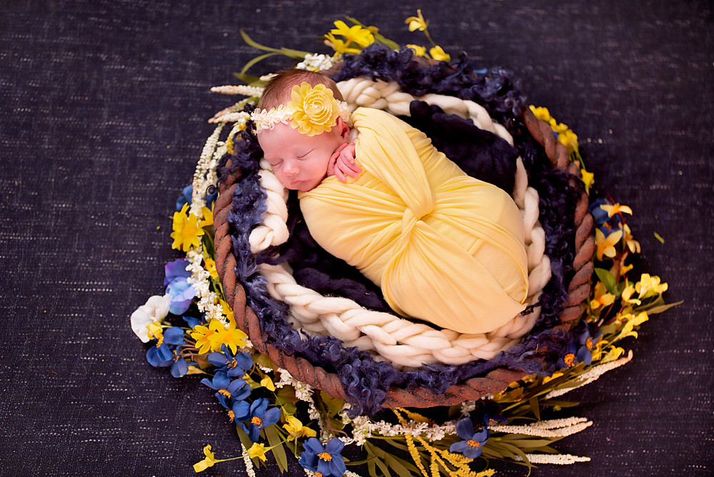 Floral circle surrounding newborn baby picture in Overland Park