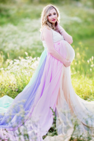 Glowing rainbow maternity skirt