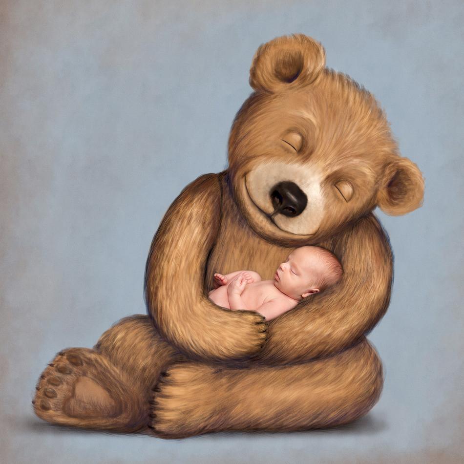 Illustrated Newborn Teddy Bear Photography