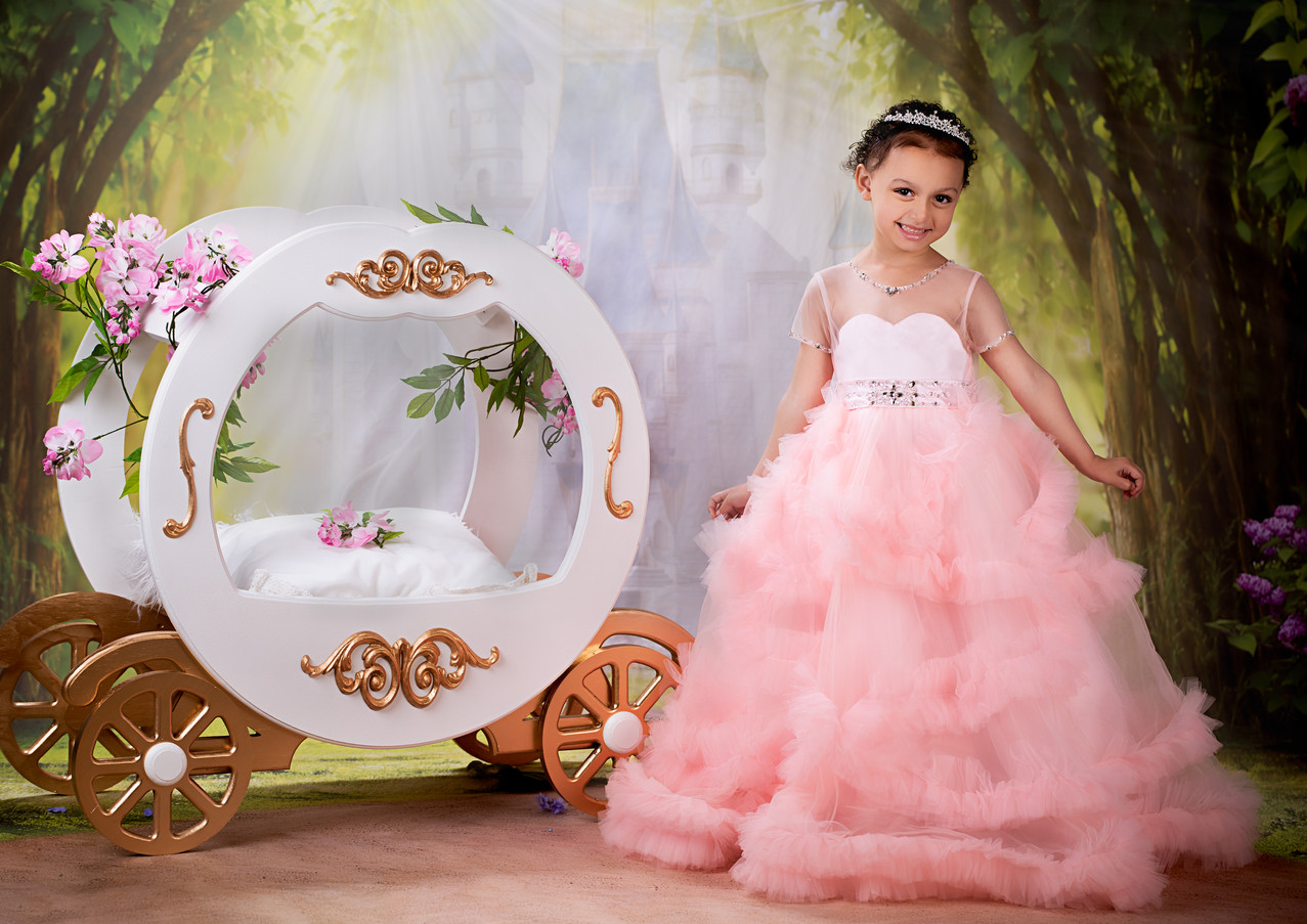 Princess photography with a crown and carriage