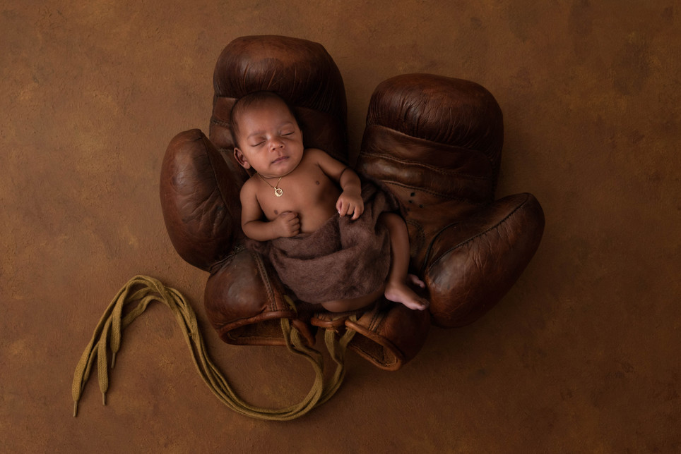 Boxing Glove Themed Newborn Picture