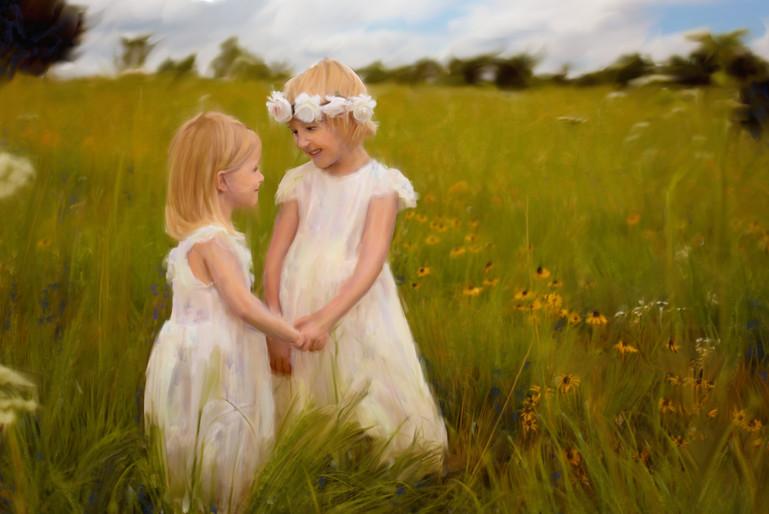Painted Portrait of girls in a flower field