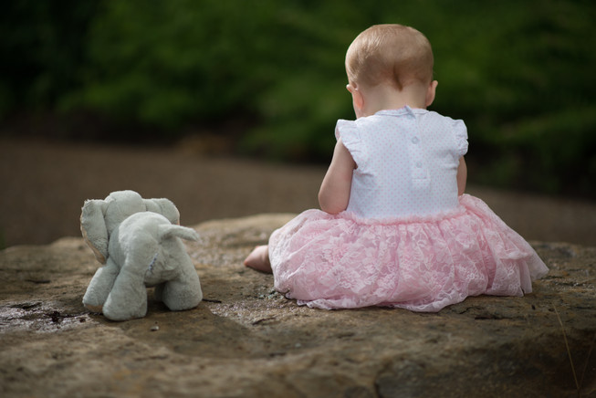Baby photograph with stuffed animal