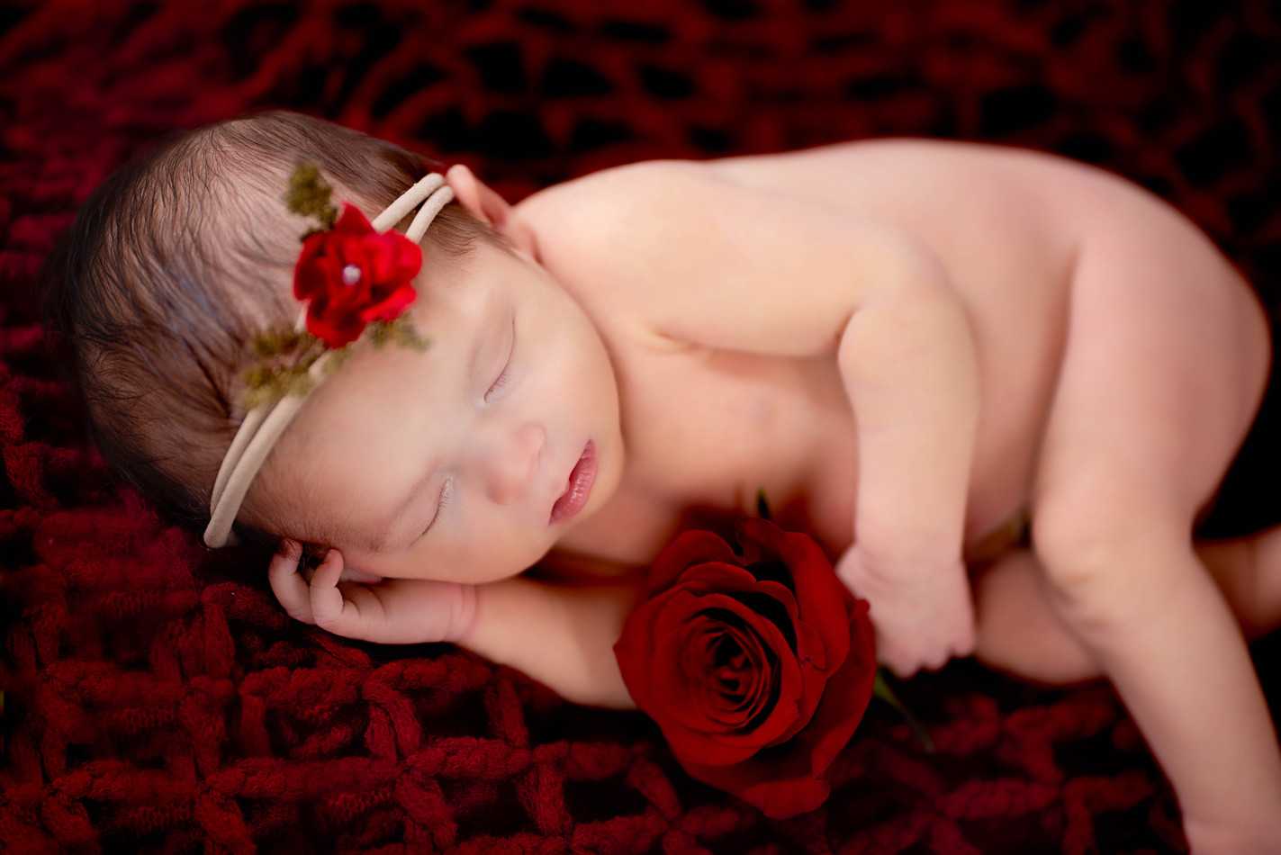 Princess Newborn Picture with a real red rose