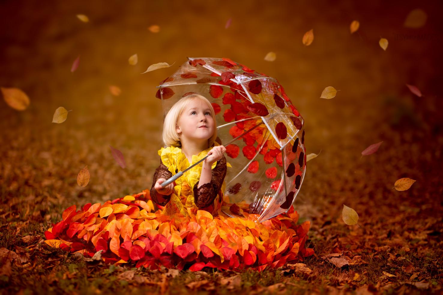 Fall Leaves Dress and Umbrella